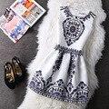 Moda verano de las mujeres de otoño casual chaleco vintage party dress impreso floral princesa sin mangas delgado vestidos de ropa vestidos