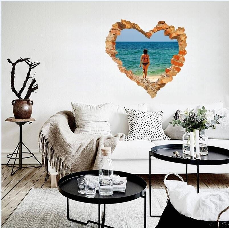 99c12706 Эгейское море поддельные 3D senery стены Стикеры ПВХ Оконные рамы пейзаж  зеленый съемный рваные DIY Наклейки на стену Домашний Декор