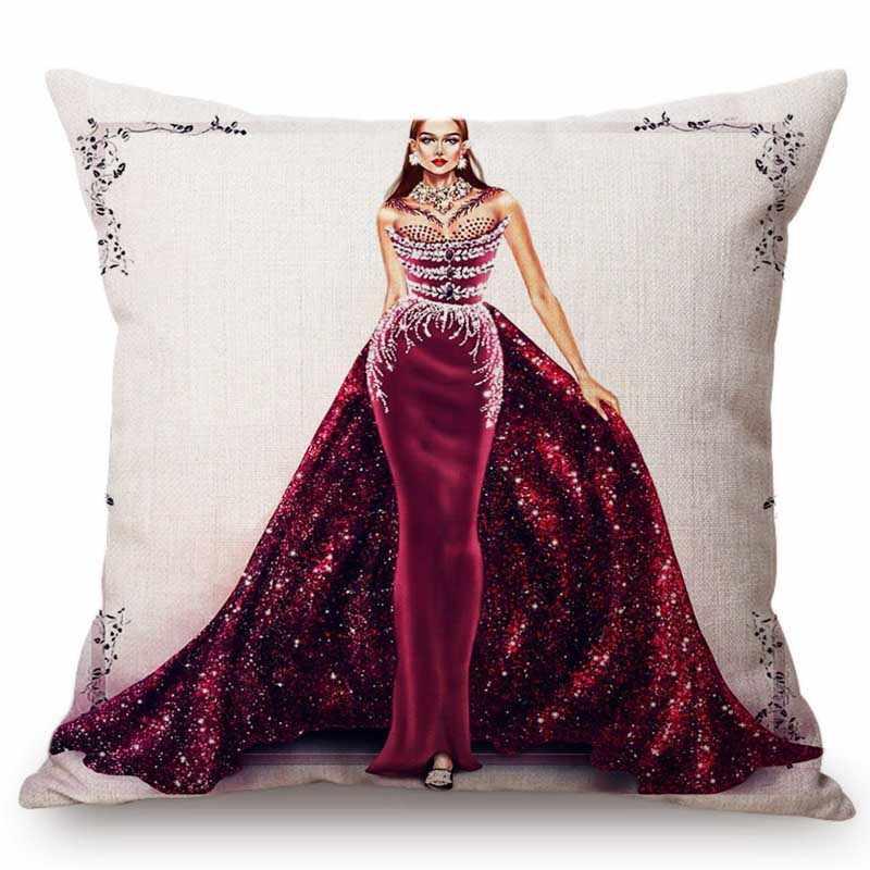Fashion Queen Girl Beautiful Dress Hand Drawing Sofa Throw Pillow Case Elegant Fashion Dress Design Artwork Linen Cushion Cover Aliexpress