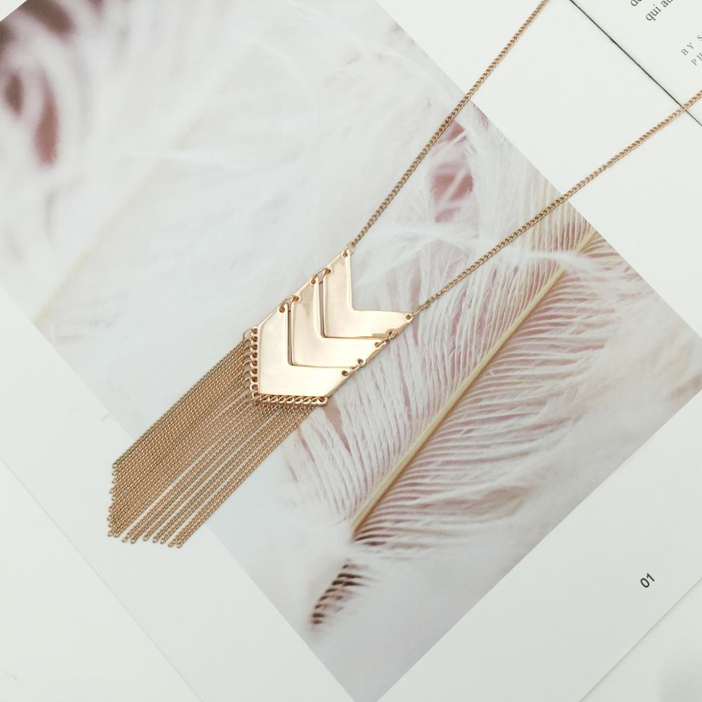 Fashion Tassel Long Chain Alloy Necklace Geometry Shape Pendant Statement