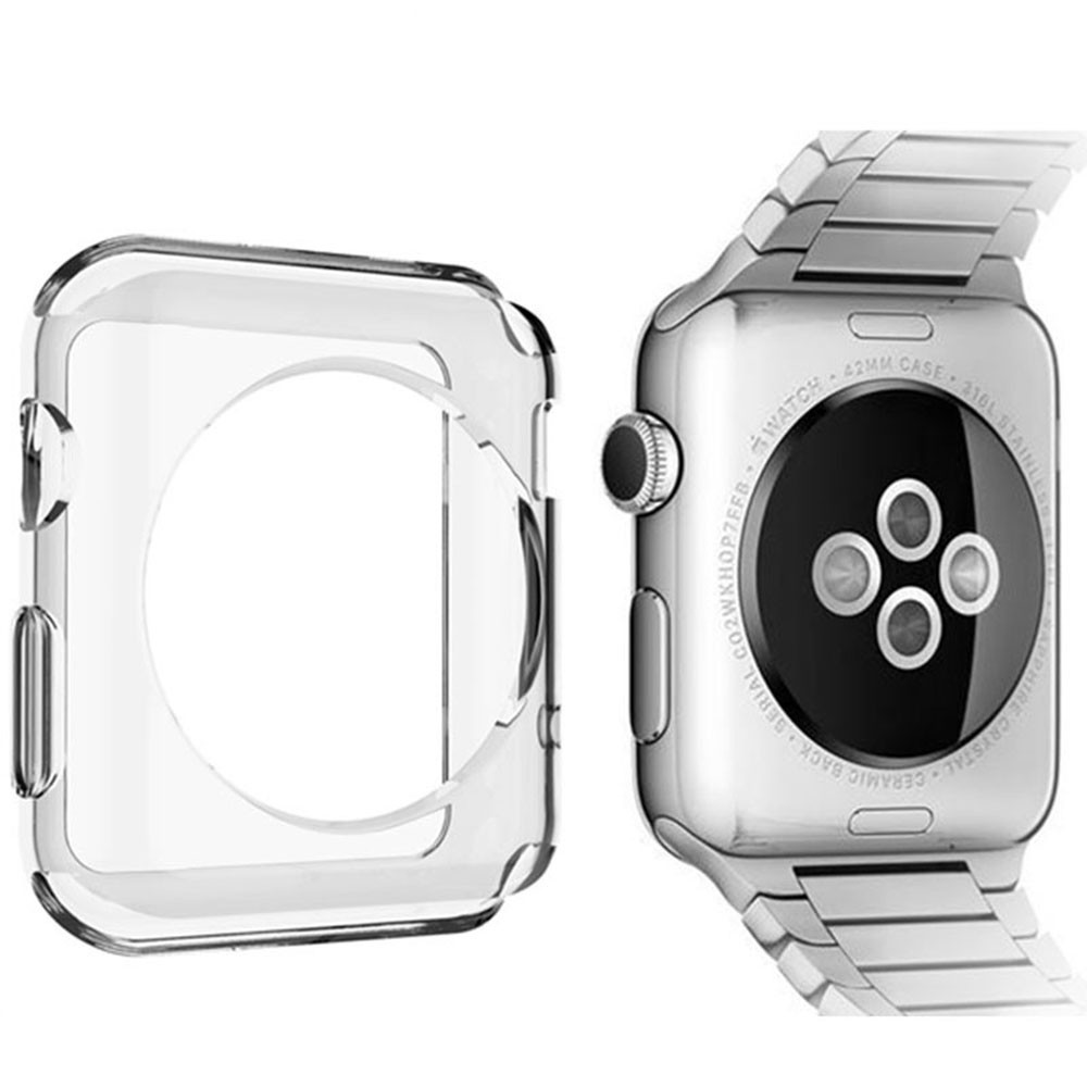 designer fashion 5aa46 f270e US $1.2 |POMER Smart watch case transparent ultra thin soft TPU gel clear  protective cover for Apple Watch Series 1 2 Protective Skin-in Fitted Cases  ...
