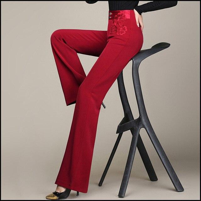 Марка 2016 Весенняя Мода Женщины Брюки Для Дамы Elegent Широкий Брюки ноги Высокой Талии Дамы Прямые Брюки 5XL 6XL Красный коричневый