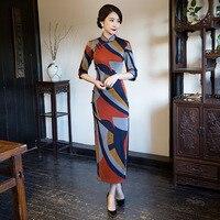 New Arrival Fashion Long Women Cheongsam Dress Chinese Ladies Elegan Qipao Novelty Sexy Dress Size M