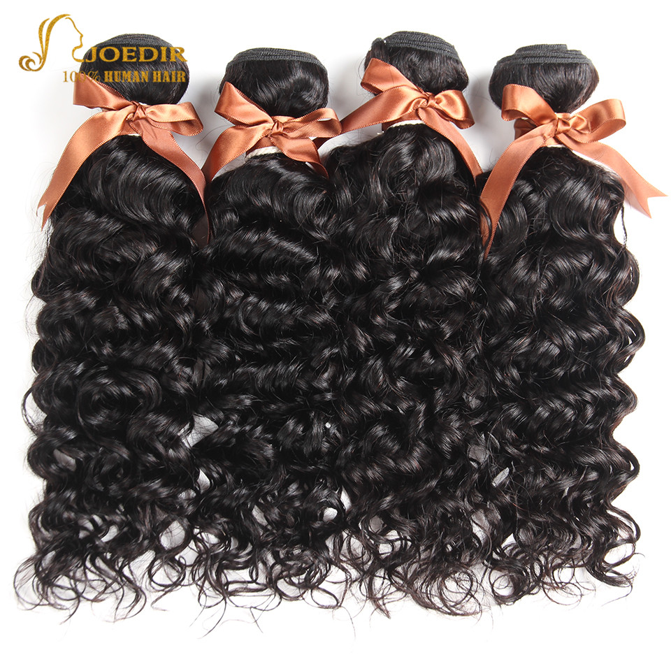 Image 2 - Joedir Water Wave Bundles With Closure Brazilian Human Hair Weave Bundles With Closure 3 Remy Wet And Wavy Bundles With Closure-in 3/4 Bundles with Closure from Hair Extensions & Wigs