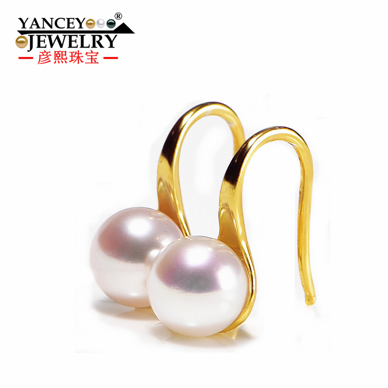 YANCEY 8-9mm Natural Freshwater Pearl Drop Earrings for women with S925 Silver Drop Earrings Lotus fun Fine jewelry