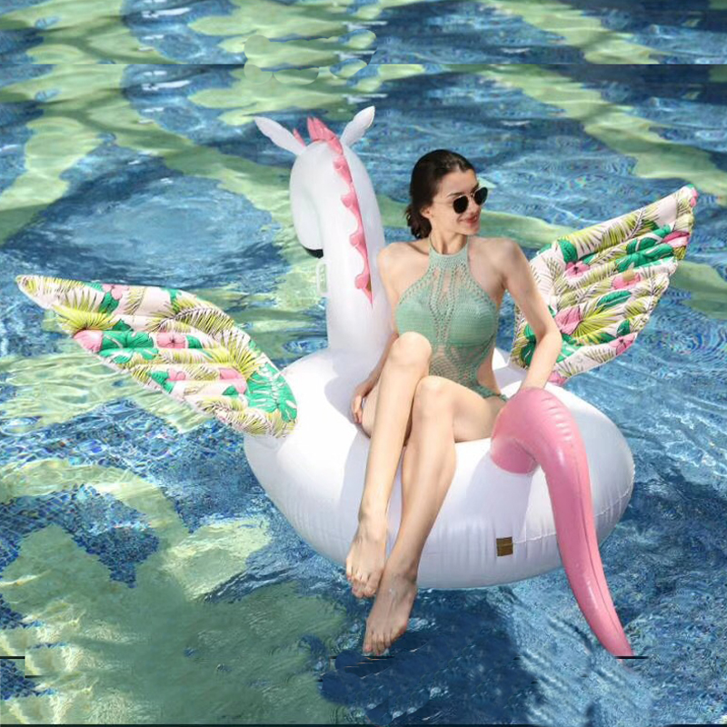 200CM Giant Pattern Wing Unicorn 2019 New Candy Pegasus Inflatable Pool Float Ride On Swimming Ring Water Party Toy Boia Piscina