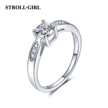купить StrollGirl Fairytale Sparkling Ring Clear CZ Finger Ring for Women Real 100% 925 Sterling Silver Wedding Engagement Jewelry дешево
