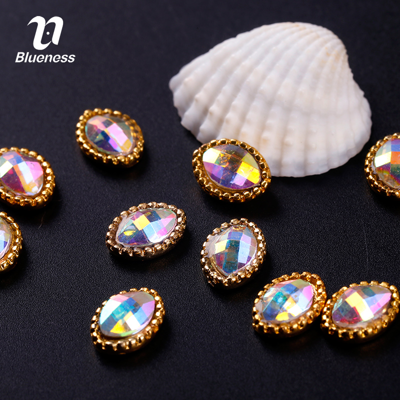 Blueness 10Pcs/lot 3D Jewelry Design Nails Accessories Glitter Metals Studs Manicure Nails Art Rhinestones Decorations Studs