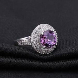Image 2 - Gem ballet s ballet 2.66ct natural ametista anel de pedra preciosa 925 prata esterlina noivado cocktail anéis para mulheres jóias finas