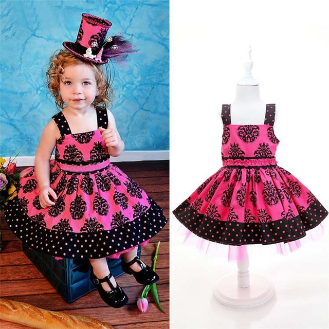 d75a38903 High Quality 2015 New Summer Girls Retro Style Dress Kids lovely dresses  with dot him girls dress baby fashion flower clothes