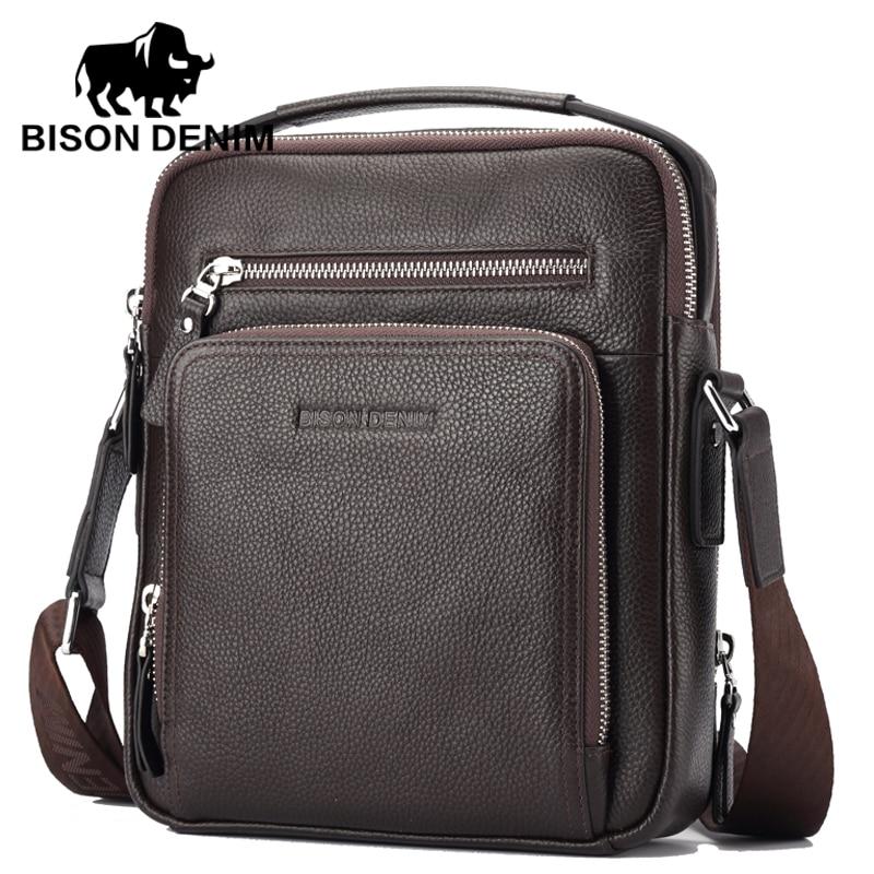 BISON DENIM 100 top Genuine Leather Men s iPad Tabelt Cowskin Bag Designer crossbody bag Men