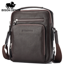 BISON DENIM 100 top Genuine Leather Men s iPad Tabelt Cowskin Bag Designer crossbody bag Men