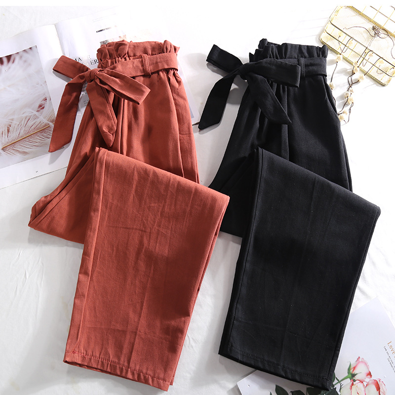 YuooMuoo Women Summer Regular Bow Sashes Pants Autumn Loose Office Ladies Trousers Casual Pleated Ankle Length Pencil Pant