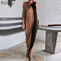 2016 ZANZEA New Women Summer Sexy Maxi Dress Fashion Casual Loose Asymmetric Neck Irregular Sleeve Splice Color Long Vestidos