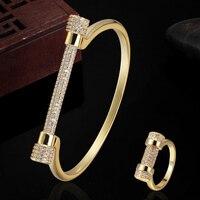 Blucome Brand Copper Bangle Jewelry Men S Gold Bangle Rings Dubai Jewelry AAA Zircon Bracelet Anel