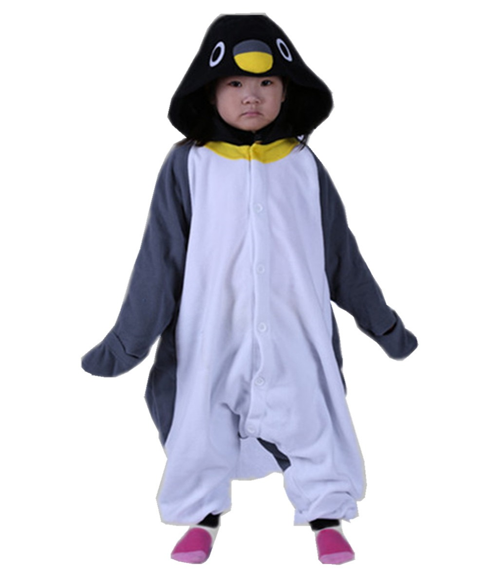 Unisex Kids Baby Gray Penguin Sleepwear Onesies Costume Winter Cartoon Pajama Halloween Christmas Party Children Cosplay Pyjamas