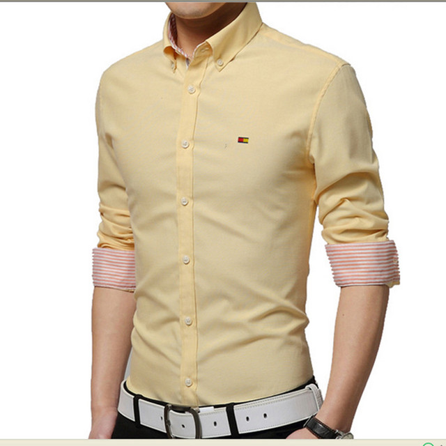 Hot! Fashion Men Sexy Clothes Slim Fit Men Long Sleeve Cream Shirt ...