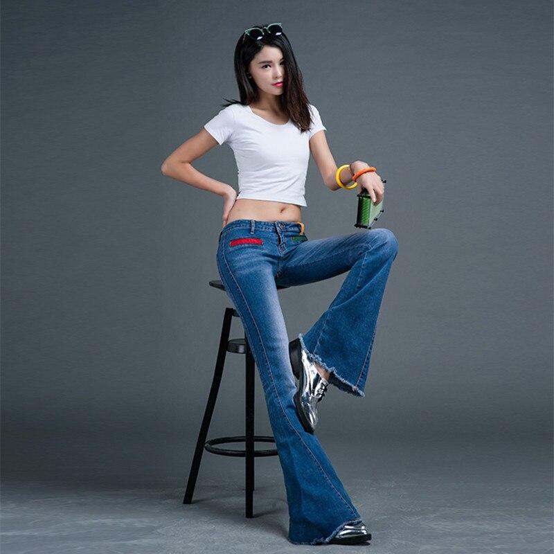 Kadın Giyim'ten Kot Pant.'de Ücretsiz Kargo 2018 Düşük Bel Moda Uzun Kot Pantolon Kadınlar Için Parlama Pantolon Artı Boyutu 25 32 Denim Yaz kot püsküller Ile'da  Grup 1