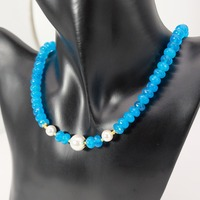 Vintage Classic Natural Stone Jewelry Simple Noble 5x8mm Blue Topazs Beaded With Shell Pearl Strand Choker