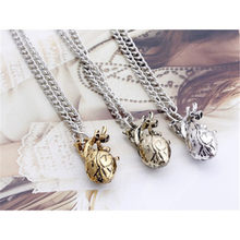 JAVRICK Unique Retro 3D Anatomical Human Hollow Heart Pendant Necklace Sweater Chain Coppery/Gold Color(China)