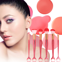 6 Pcs Set Mermaid Makeup Brush Nylon Hair Plastic Handle Eyeshadow Eyeliner Foundation Makeup Brush Set