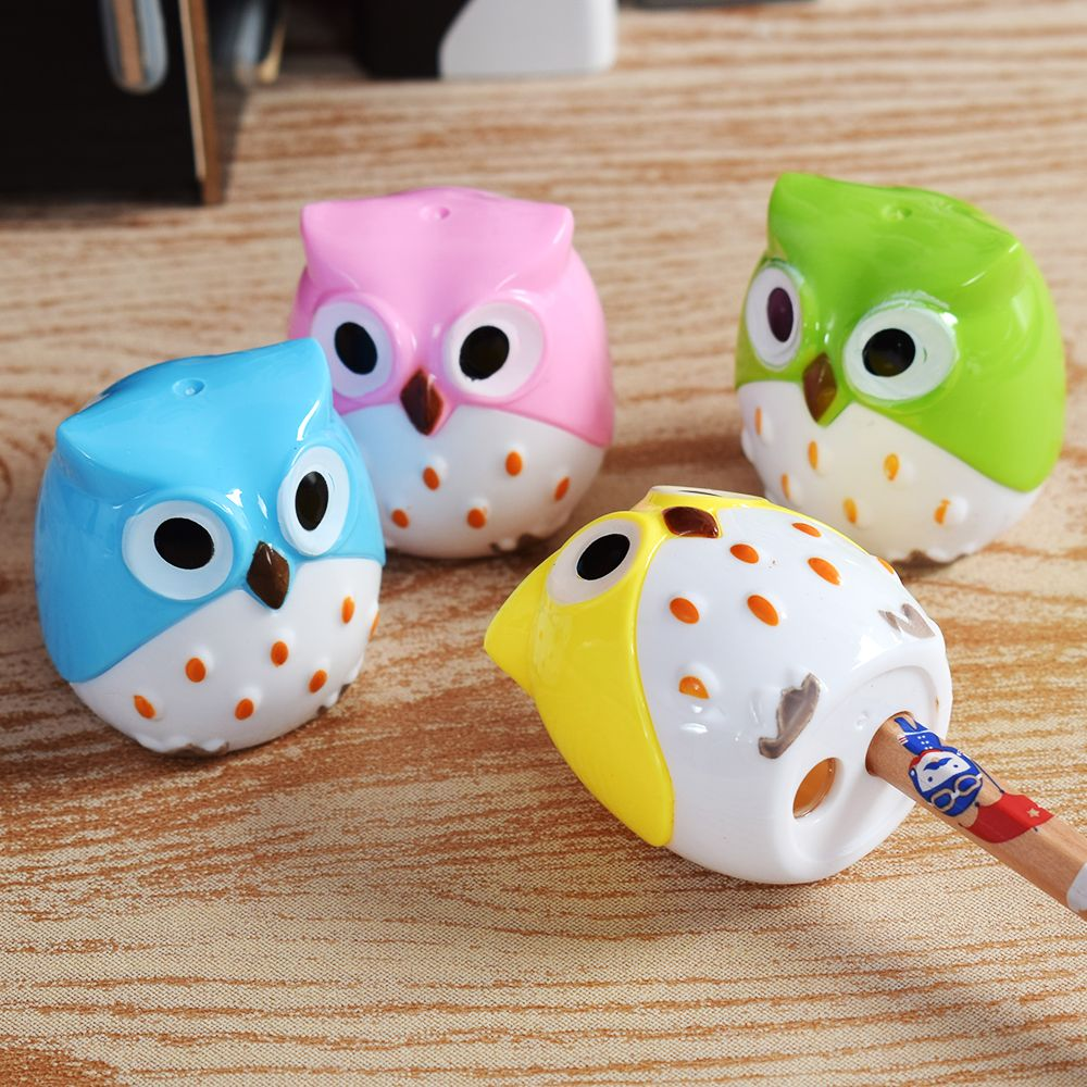 4 COLORS Cute Kawaii Lovely Plastic Owl Automatic Pencil Sharpener Creative Stationery Gifts For Kids School Supplies