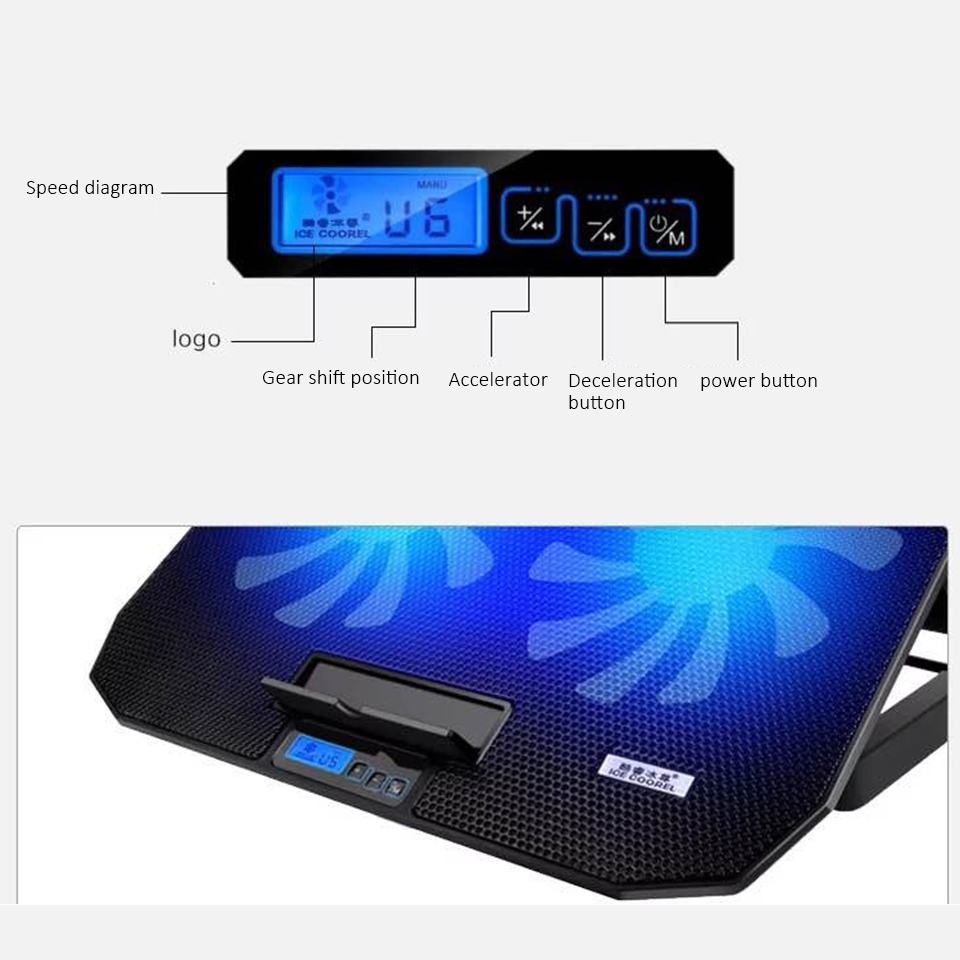 Image 5 - Laptop cooler 2 USB Ports and Two cooling Fan laptop cooling pad Notebook Stand for 12 15.6 inch for Laptop-in Laptop Cooling Pads from Computer & Office