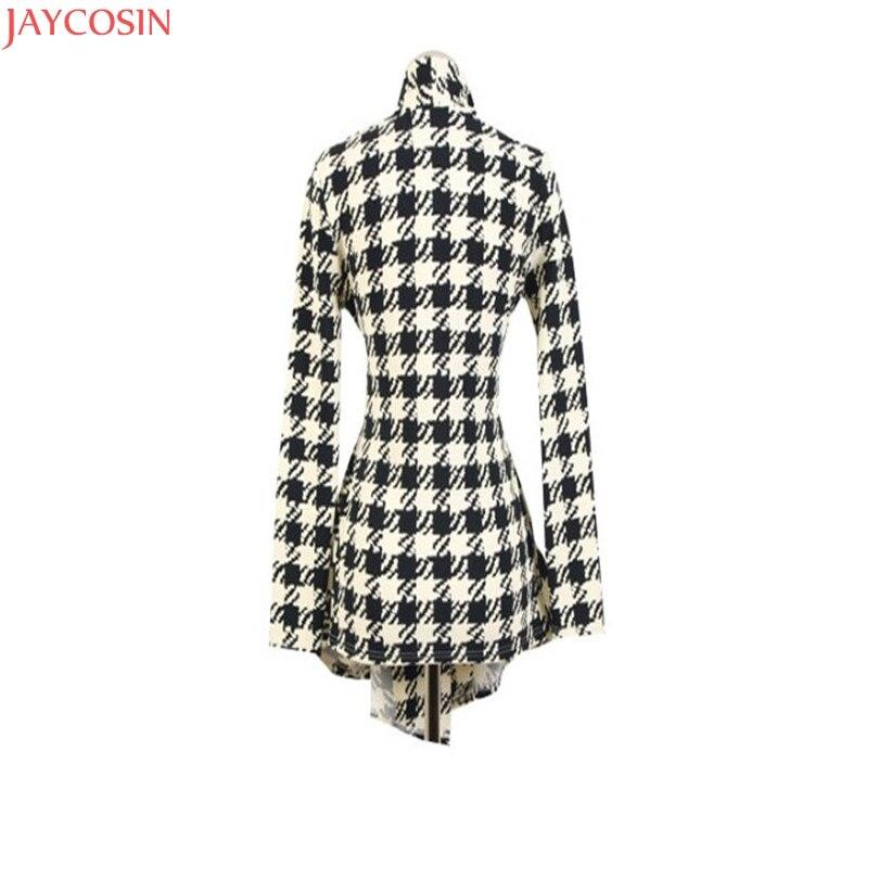 women jacket women basic coats plus size Korean Womens Houndstooth Pattern Thin Cardigan Coat Jacket Outwear TJ 5
