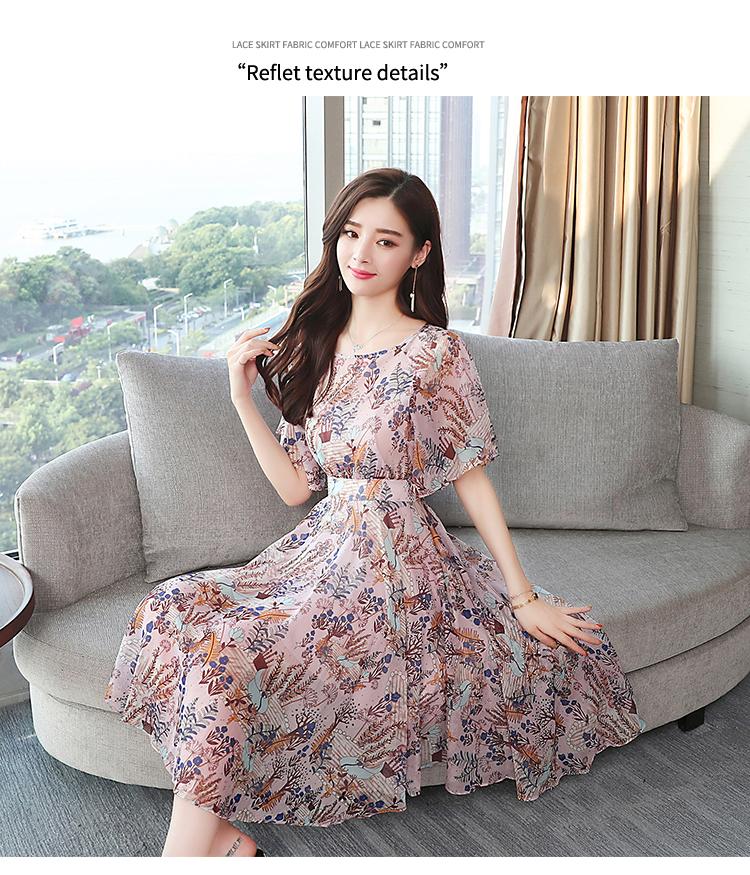 Plus Size Summer Vintage Floral Chiffon Lady Boho Dress 2018 Korean Elegant  Woman Midi Dresses Party Casual Beach Sun Vestidos fea0dba4700f