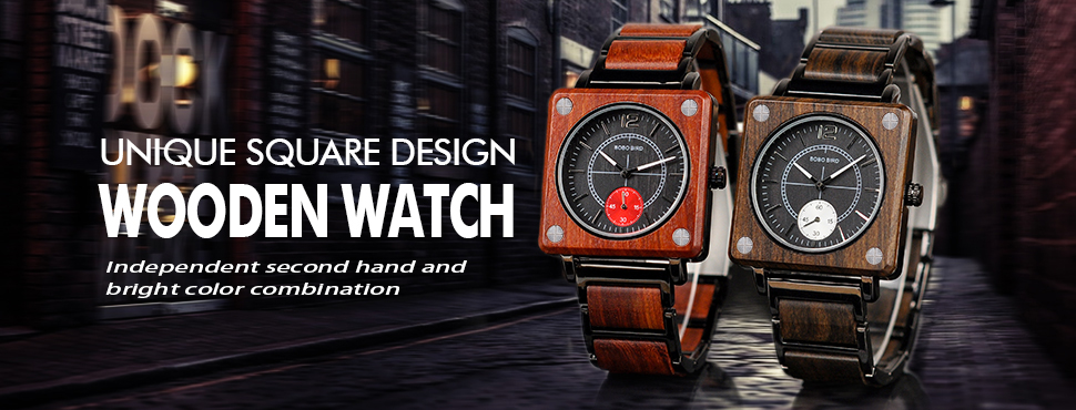 BOBO BIRD 2019 Square Design Unisex Wooden Watches 11