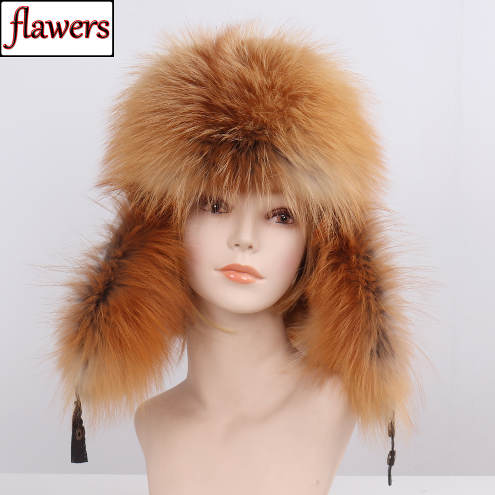 Hat Cap Bomber-Caps Russia Real-Fox-Fur Winter Genuine Unisex Warm Hot-Sale Soft Casual