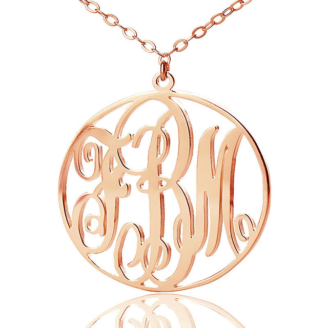 Monogram necklace with circle frame name pendant rose gold color monogram necklace with circle frame name pendant rose gold color personalized 3 initials vine monogram round aloadofball Gallery