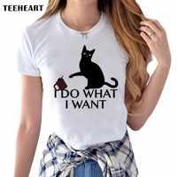 Лето 2017 г. озорной черная кошка 3D Милая рубашка, женская блуза «I Do What I Want»; с рисунком, с круглым вырезом, футболка с короткими рукавами футбо...