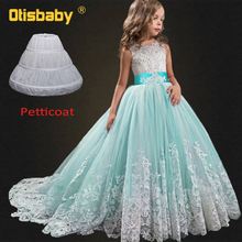 все цены на Flower Girl Dresses for Weddings Lace Puffy Ball Gowns Kids Sleeveless Graduation Gown First Holy Communion Dresses for Girls онлайн