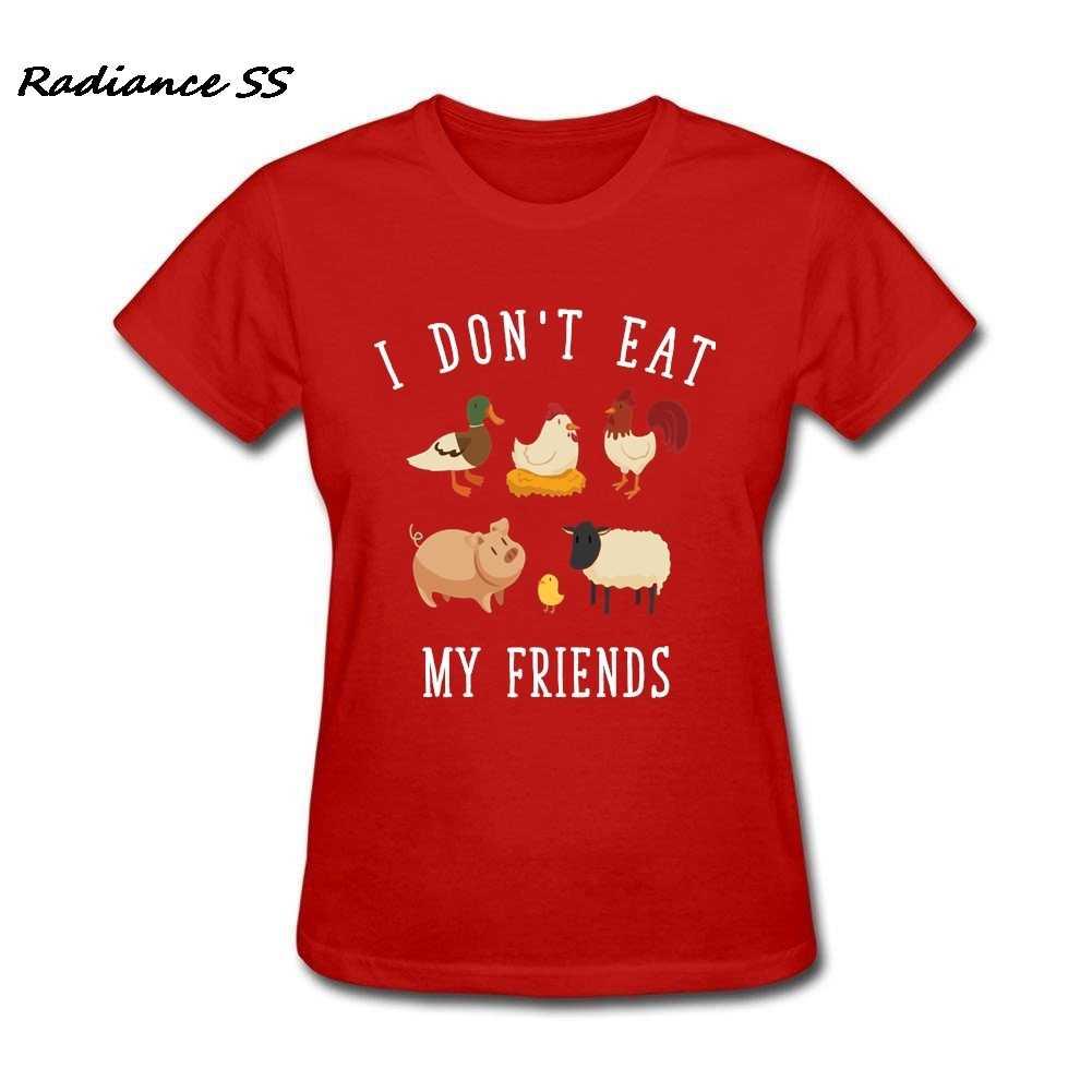 Yeni T Shirt Kadın Kısa Kollu Vegan Vejetaryen Yaz I Yemez Arkadaşlarım Baskı Pamuk Giyim Bayan