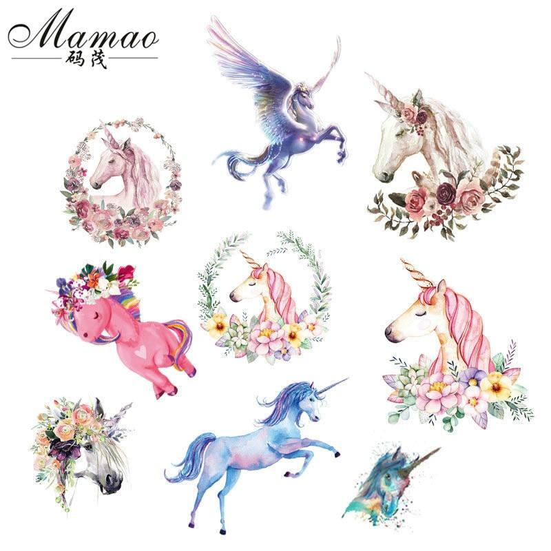 MAMAO Animales Unicornio Hierro en las Transferencias de Ropa Tela de - Artes, artesanía y costura