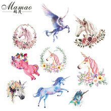 MAMAO Animals Unicorn Iron on Transfers voor kleding Fabric Baby Kids Applique badge Hot Vinyl Heat Transfer Stickers