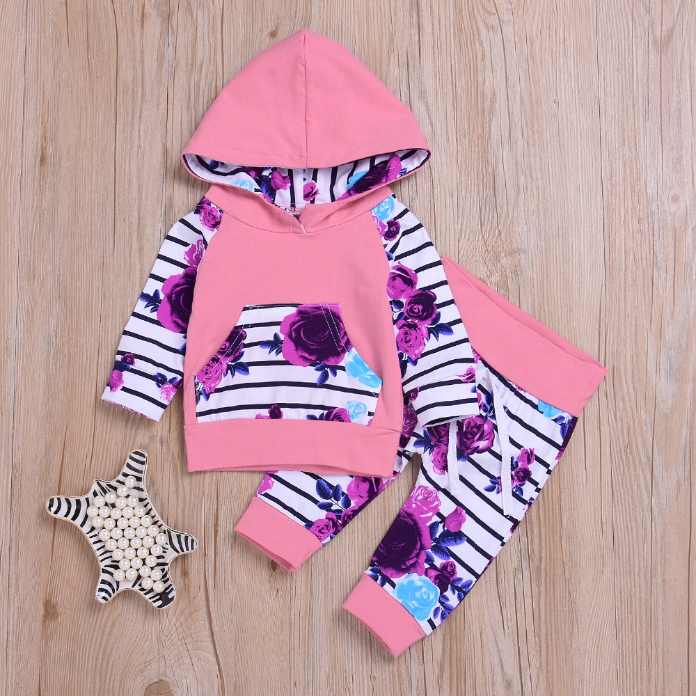 2pcs Newborn Baby Girls Clothes Long Sleeve Hoodies Tops+Floral Pants Outfits Baby Girl Winter Outfits Set Clothes ship from USA