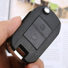 Keyecu Replacement Shell Car Key Cover Flip Remote Key Case Fob for 2 Buttons PEUGEOT 206 205 405 106