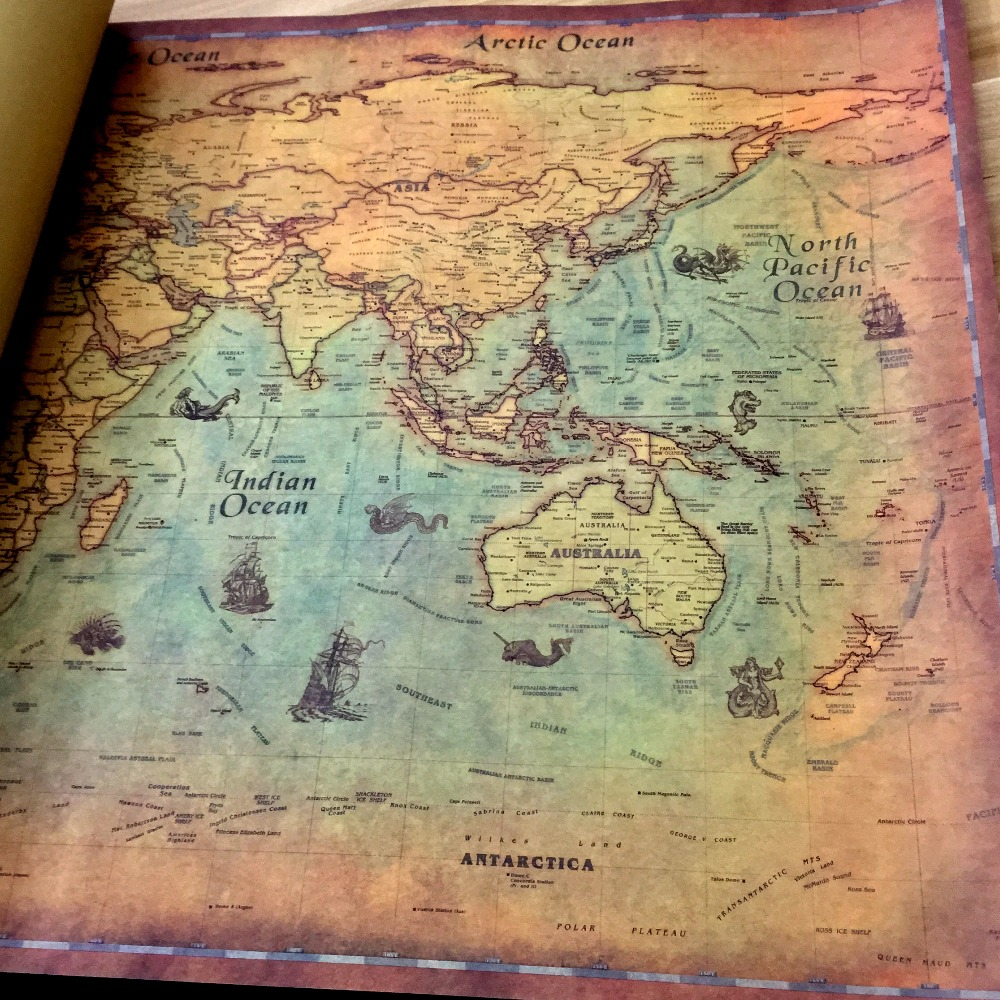 Vintage The World Map Nautical Ocean Sea Maps Retro Old Paper Poster
