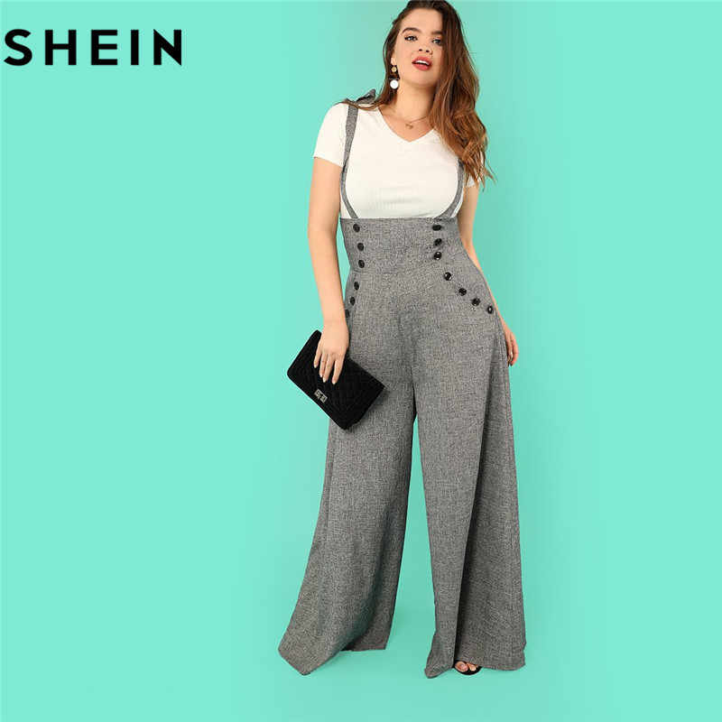 c0d249457b SHEIN Grey High Waist Wide Leg Straps Plus Size Office Lady Long Jumpsuits  2018 New Flare