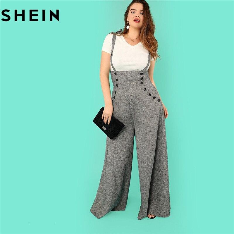 SHEIN gris alta Cintura amplia pierna correas más tamaño Oficina señora larga monos 2018 nueva Flare Hem suelto Casual mono