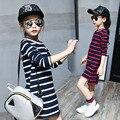 Crianças Meninas Vestido de Algodão Listrado Manga Longa Meninas Roupas de Outono Crianças Casuais Meninas vestido 4 5 6 7 8 9 10 11 12 13 14 Anos