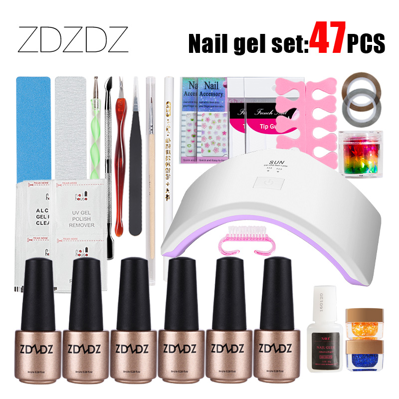 ZDZDZ 47Pcs DIY Nail Art Base Tool Nail Manicure Set 18W UV Led Lamp 8ml Base/No Wipe Top /Reinforcement Gel Kit Brush Buffer nail art manicure tools set uv lamp 10 bottle soak off gel nail base gel top coat polish nail art manicure sets