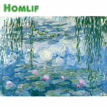 HOMLIF Drop shipping,Claude Monet Water Lilies Embroidery Mosaic Pattern Wall Art diamond Painting for Living Room Home
