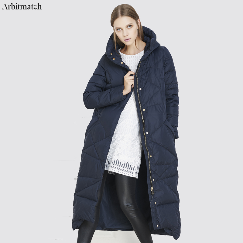 Arbitmatch Fashion Womens Long Hooded Down Jacket Female Duck Down Coat Thick Quilted Jacket Women Warm Duck Down Parka Outwear