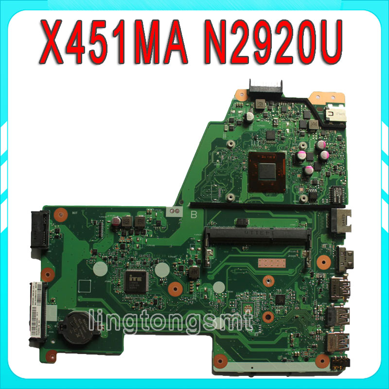 For ASUS Laptop motherboard X451MA mainboard REV2.1 processor N2920u Integrated 100% tested brand new ziwb2 ziwb3 ziwe1 la b092p rev 1 0 for b50 70 laptop motherboard mainboard with with sr1ek core i3 4005u