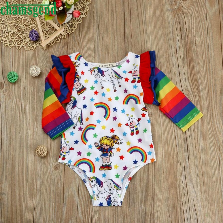 CHAMSGEND lace sleeve white horse print haunch Baby Boys Girls Rainbow Splice Romper Jumpsuit Clothes Outfit Costume may 23 P30
