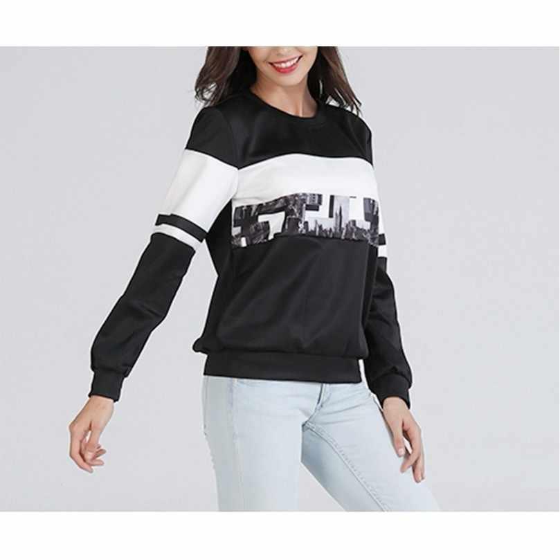 Осенняя футболка для женщин, из кусков, Повседневное футболка Для женщин верхняя одежда с О-образным вырезом, женская черная футболка с длинными рукавами женская футболка, Топ
