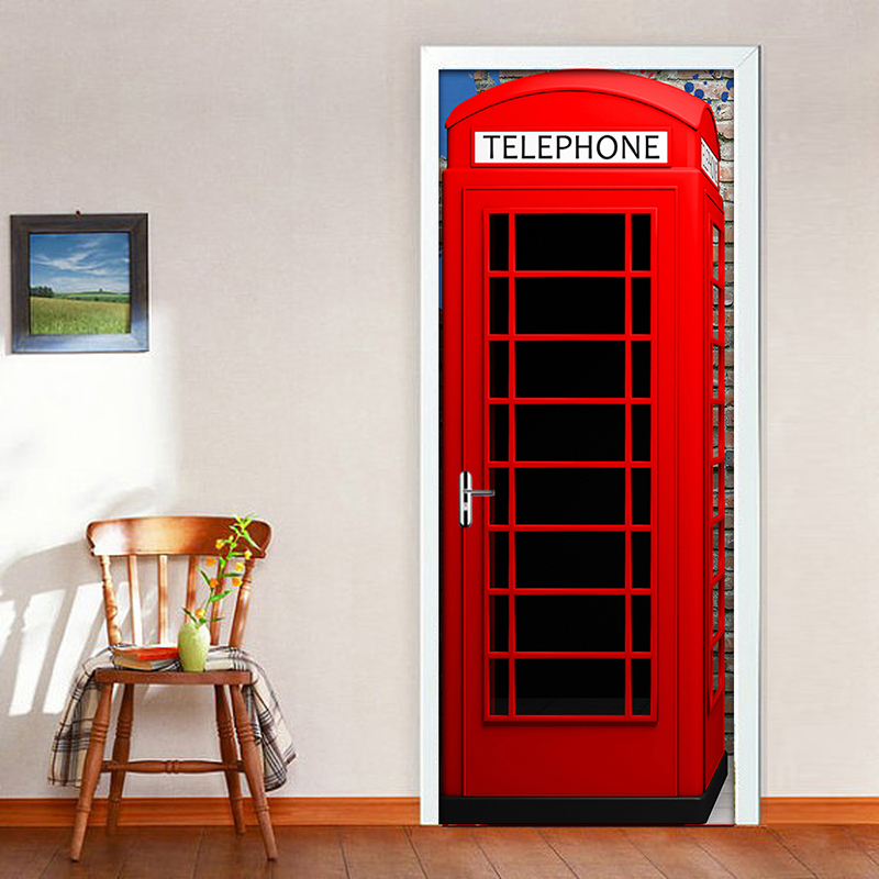 цена на Telephone Booth Mural Wallpaper Creative DIY Living Room Home Decor Poster PVC Waterproof Self-adhesive 3D Door Sticker Decal